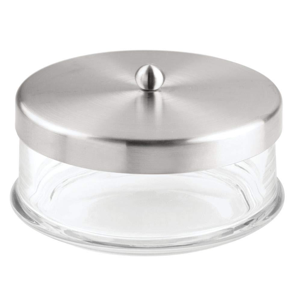 transparent//argent/é avec couvercle pour rangement herm/étique des cosm/étiques lot de 2 1 grand pot en verre id/éal comme distributeur de coton /& 1 grande boite coton tige mDesign boite a coton
