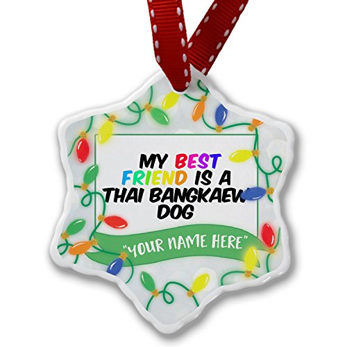 Personalized Name Christmas Ornament, My best Friend a Thai Bangkaew Dog from Thailand NEONBLOND by NEONBLOND