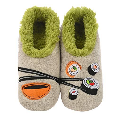 (Snoozies Womens Classic Splitz Applique Slipper Socks | Sushi | Large)