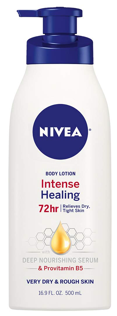 NIVEA Intense Healing Body Lotion, 72 Hour Moisture for Dry to Very Dry Skin, 16.9 Fl Oz Pump Bottle
