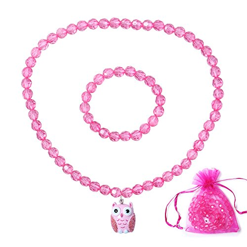 (HH-Love-Kids Little Girls Owl Necklace Set, Princess Jewel Necklace, Stretch Toddler Necklace-Owl )