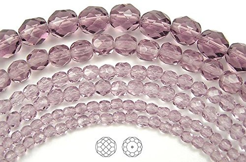 6mm (68 beads) Light Amethyst, Czech Fire Polished Round Faceted Glass Beads, 16 inch strand