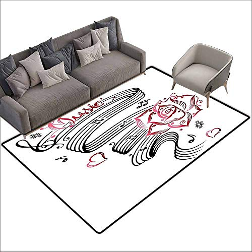 (Interior Door Rug Bathroom Rug Slip Tattoo Decor Language of Love Valentines Musical Inspiration on Sheet with Rose Hearts All Season General W6' x L7'10 Black and White)