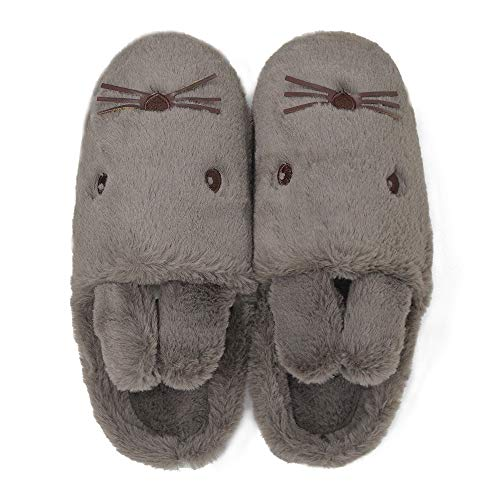 House Foam Fleece Dark Knitted Lining Coffee Indoor Mocotono Memory Cotton rabbit Men's Slipper Shoes gwnRz
