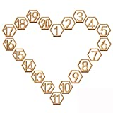 Rely2016 Wooden Table Number, 1-20 Wedding Wood Table Numbers Hexagon Geometric Reception Stands Décor for Wedding Banquet Birthday Party Events (1-20)