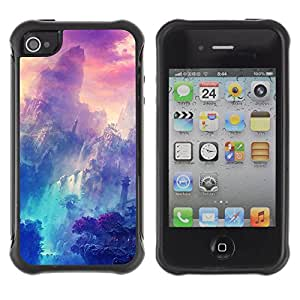 ZAKO Cases / Apple Iphone 4 / 4S / Mystical Asian Mountains / Robusto Prueba de choques Caso Billetera cubierta Shell Armor Funda Case Cover Slim Armor