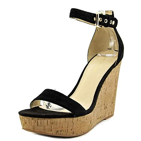 f8b3683c084a Amazon.com  Marc Fisher New Womens Heart Ankle Strap Cork Wedges Black Size  8 M ASO QVC  Sports   Outdoors