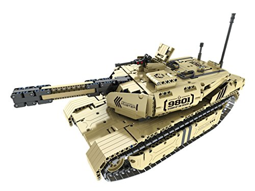 Bo-Toys R/C Shooting Tank Building Bricks Radio Control Toy, 1276 Pcs Military Battle Storm of The Desert  Tank Kit with USB Rechargeable Battery, Construction Build It Yourself Toys