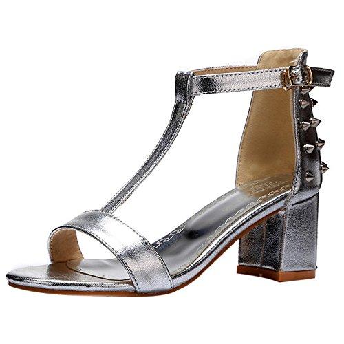 DolcisTiara - Zapatos con tacón mujer , color Negro, talla 40