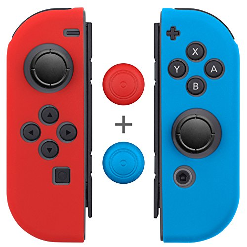 Joy Con Grips (1 Pair / 4pcs), Fosmon Anti-Slip Silicone Joy Con Gel Guards Skin Cover L/R with Thumb Stick Caps for Nintendo Switch Joy Con Controller (Red/Blue) (Case Skin Red Gel)