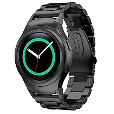 Samsung Gear S2 Watch Band AWStech Stainless Steel Watch Band + Connector For Samsung Galaxy Gear S2 SM-R720/R730 - Black
