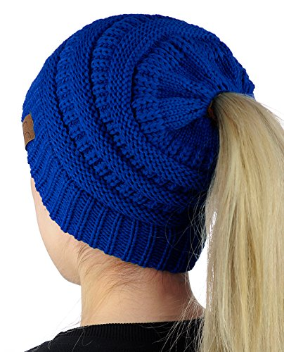 (C.C BeanieTail Soft Stretch Cable Knit Messy High Bun Ponytail Beanie Hat, Royal)