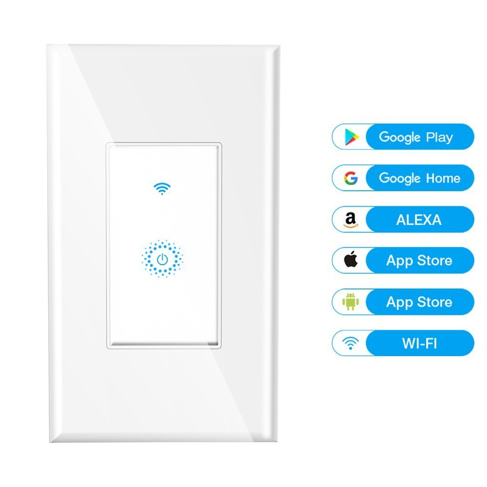 Smart WiFi Switch Light Wall Touch Remote Automatic Control TUYA Works with Smartphone Amazon Alexa Google Assistant, Overload Protection 15 A No Hub Timing Function NEW DESIGN GLASS PANEL NO SCRATCH