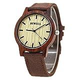 Men Ultrathin Quartz Watch Canvas Band Lightweight Wooden Dial Wrist Watch