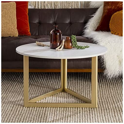 Living Room Walker Edison Modern Round Metal Base Coffee Table Living Room Accent Ottoman, 32 Inch, White Marble modern coffee tables