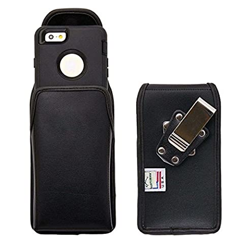 iPhone 6s Vertical Belt Case for Otterbox Defender Case, Turtleback iPhone 6s Holster made for Otterbox Defender with Rotating Belt Clip, Black Leather Pouch, Heavy Duty Made in - Iphone Vertical Case