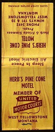 Bears Pinecones - Bear Cub Café Herb's Pine Cone Motel West Yellowstone MT matchbook