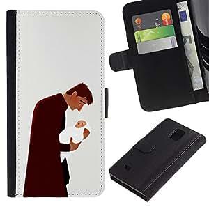 All Phone Most Case / Oferta Especial Cáscara Funda de cuero Monedero Cubierta de proteccion Caso / Wallet Case for Samsung Galaxy Note 4 IV // Man Baby Father Child Family Love Art