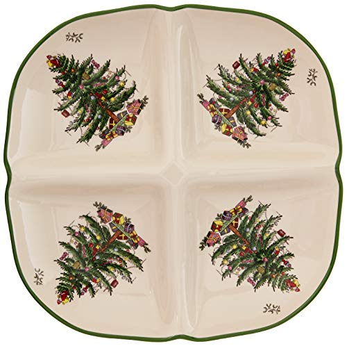 (Spode Christmas Tree Sculpted 4 Section Tray)