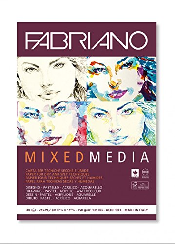 Fabriano Mixed Media Papers, 250 GSM -40 White Sheets (21 X 29.7 cm)