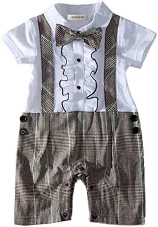 1780efb4e StylesILove Handsome Ruffle Bowtie Short Sleeve Formal Wear Baby Boy Romper  Onesie
