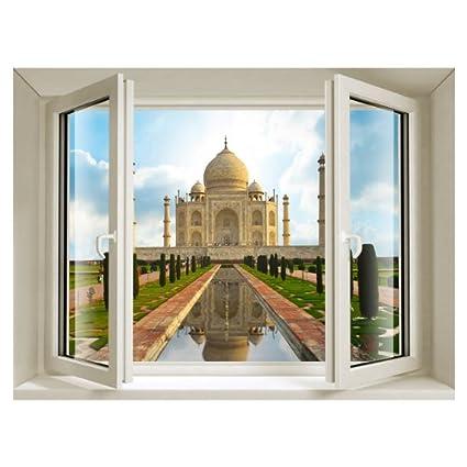 Cosmetess 847 Vinilo para Ventana 3D Taj Mahal PVC Vinilo