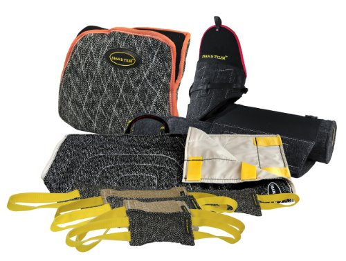 Dean & Tyler 8-Piece Professional Training Bundle Set for Dogs with 1 Tri-Bite Sleeve/1 French Linen Cover/1 Advanced Bite Builder/5 Mixed Tugs by Dean & Tyler