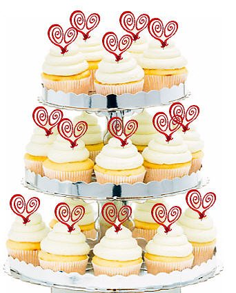 Valentine Heart Whimsy Picks Caketoppers