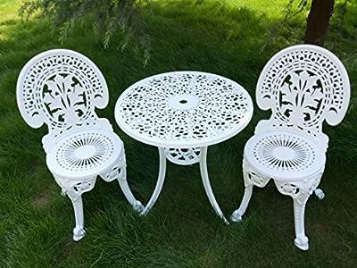 Vanteriam Outdoor Patio Furniture Cast Aluminum 3 Piece Bistro Set in Bronze- Two Chairs One Table w/Umbrella Hole (Tulip Design), US Stock