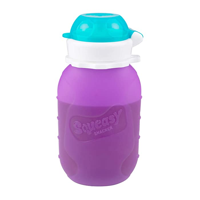 Purple 6 oz Squeasy Snacker Spill Proof Silicone Reusable Food Pouch - for Both Soft Foods and Liquids - Water, Apple Sauce, Yogurt, Smoothies, Baby Food - Dishwasher Safe