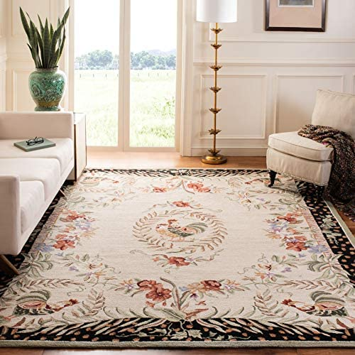 Safavieh Chelsea Collection HK92A Hand-Hooked Cream and Black Premium Wool Area Rug 8 9 x 11 9