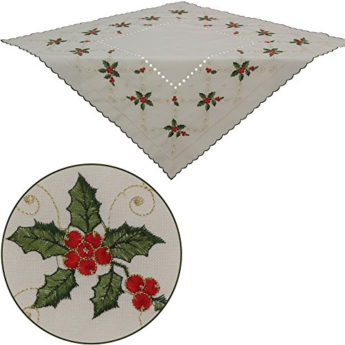 Quinnyshop Winter Berry Table Overlay 34-inch-by-34-inch/ 85 x 85 cm Square Linen-Look, Ecru