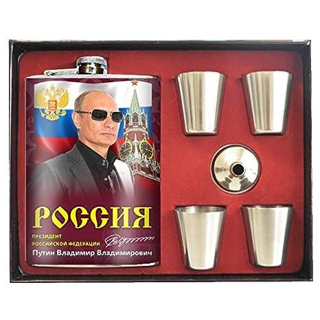 Warenwelt Flasque Russie Putin en Acier Inoxydable Putin 270 ML 4 Gl/äser