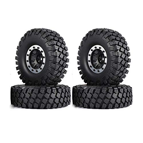 (LAFEINA 1.9 Inch 114mm Tires and Plastic Beadlock Wheels for 1/10 Scale RC Rock Crawler Car Axial SCX10 Traxxas TRX4(Silver))