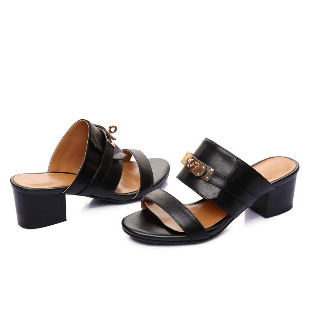 Black T-JULY Fashion Women Genuine Leather Sandals Metal Decoration Summer shoes Woman Comfort Casual Ladies shoes Slipper