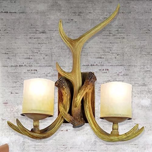 JHT Resin Antler Wall Sconce 2 Light Frosted Glass Shade (Antique) - Antler Wall Sconce
