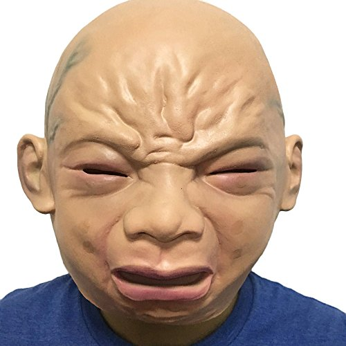 (WeiYun Creepy Mask Lifelike, Cry Baby Full Head Ghost Devil Evil Mask ,Ugly Mask Cosplay Costume Fancy Party Favors for Halloween, Latex Rubber Mask X)