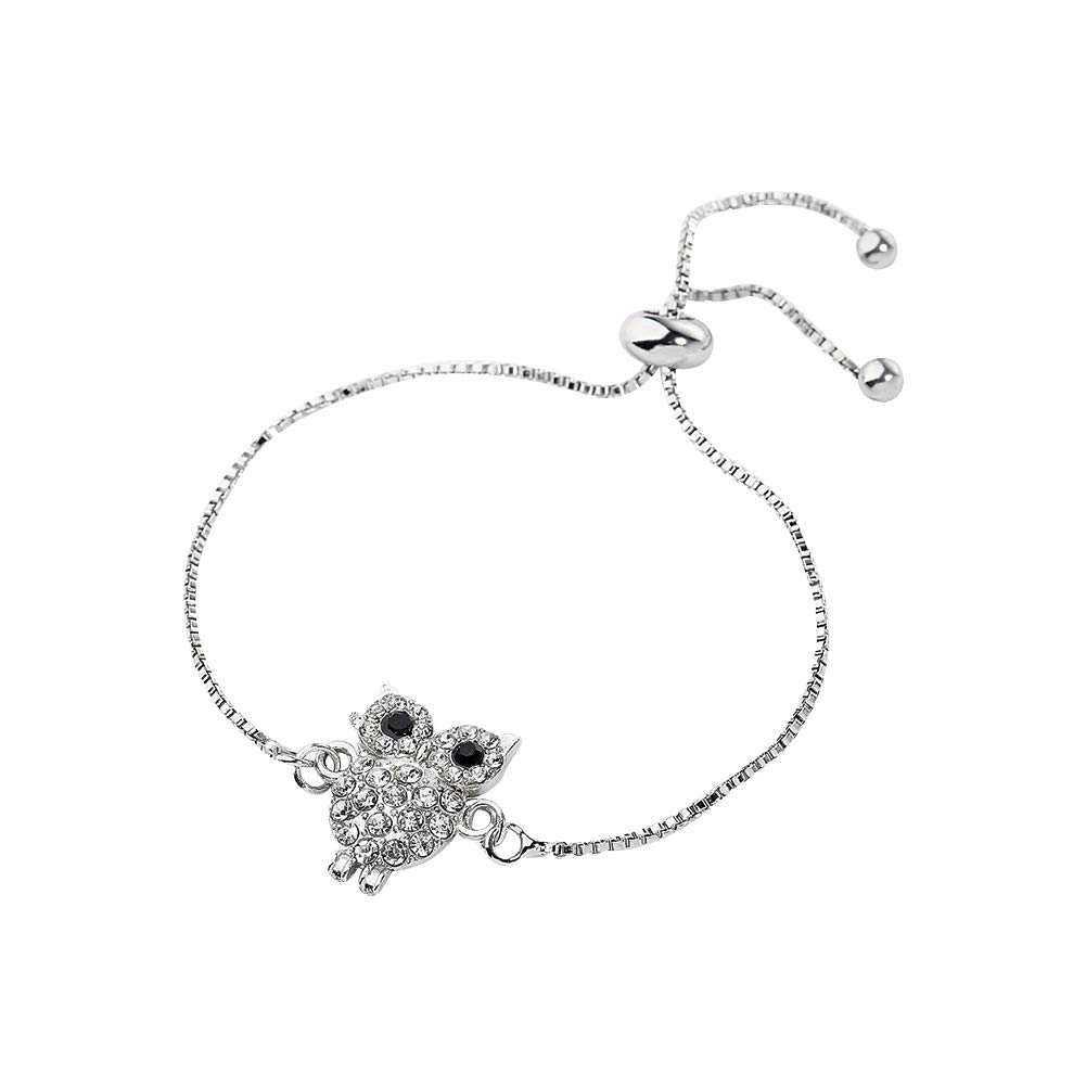 Lovinda Silver Plated Charm Bracelets for Girls Women Exquisite Owl Zircon Pendant Adjustable Pull Chain Bracelets Girls Gift x1Piece