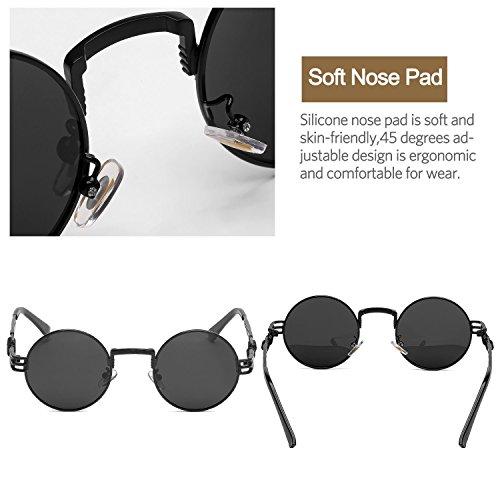 e79e54207f10e6 ... Steampunk Round Polarized Sunglasses Retro Vintage Circle Spring Style  Frame Metal Hippie Sun Glasses for Men ...