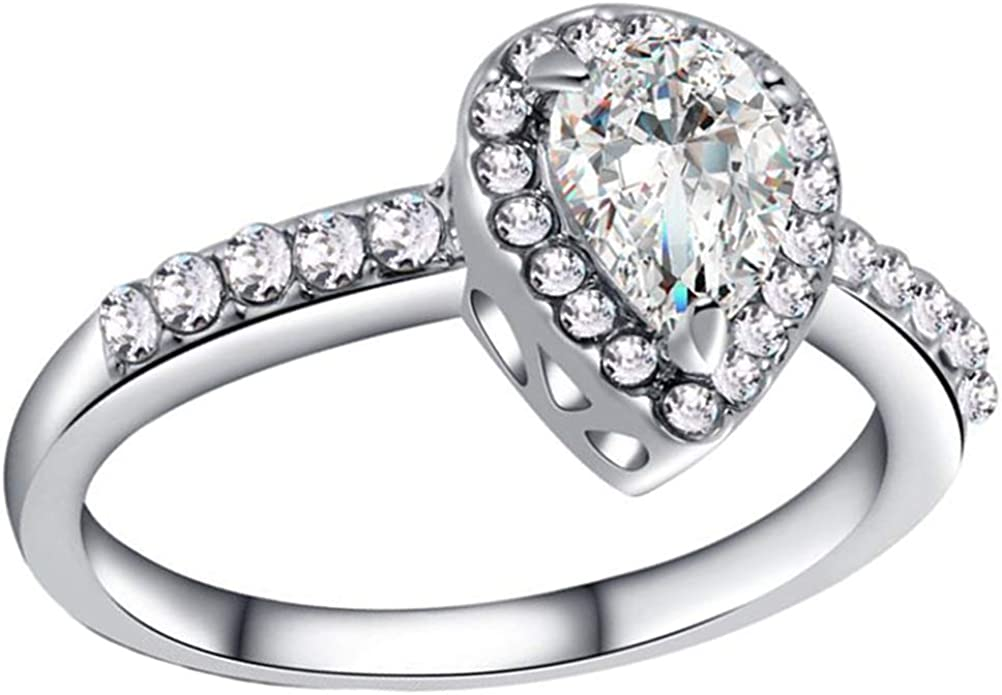 SumBonum 925 Sterling Silver Created White Topaz Filled Heart Halo Promise Ring,Size 6-10