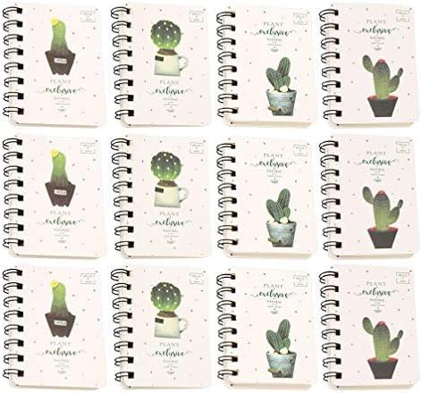 NUOBESTY Gewundenes Notizbuch Des Kaktus 12Pcs für Schulbüro-Schulbedarf