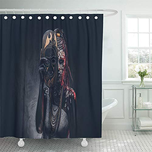 Emvency Shower Curtain Waterproof Decorative 72 x 72 inches Portrait of Witch from The Indigenous African Tribe Wearing Traditional Costume Set with Hooks Bathroom Curtain -