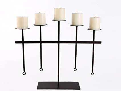 Hosley® Decorative Metal Candelabrum 56cm Long with 5 Bonus Pillar Candles Candles at amazon