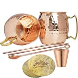 Moscow Mule Copper Mugs Set of 2-100% Pure Handmade Copper Mug Brass Handles - Hammered Copper Moscow Mule Cups 16oz - 2 Solid Copper Straws + 2 Wooden Coasters + 1 Copper Shot Glass + 1 Stirrer