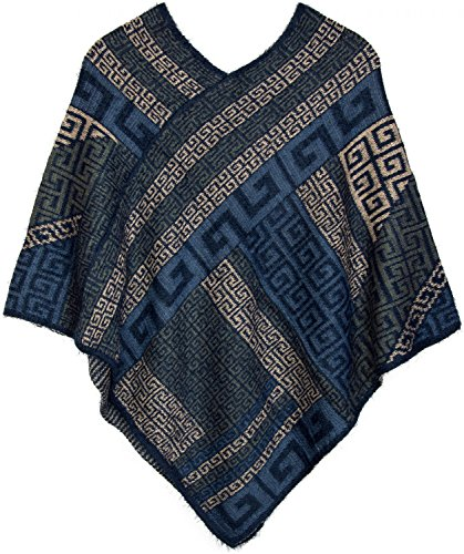styleBREAKER - Poncho - capa - Étnica - para mujer Dunkelblau-Blau-Grau-Beige