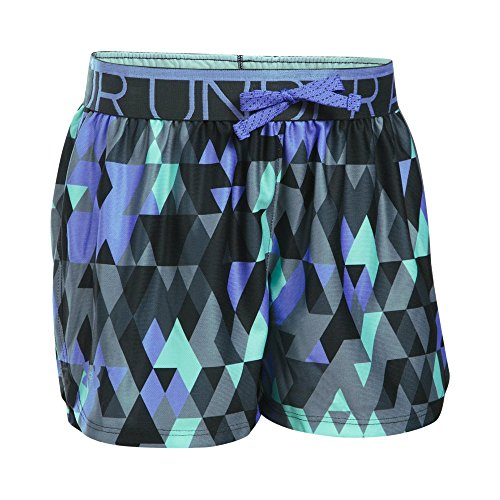 Under Armour Girls' Printed Play Up Shorts, Stealth Gray/Violet Storm, Youth X-Large