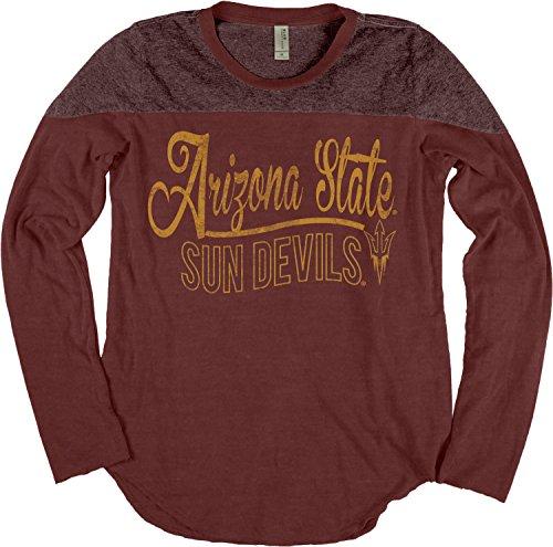 Ncaa Arizona State Sun Devils Adult Women Ncaa Womens Dyed Long Sleeve Yoke Tee Medium Maroon