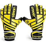 Youth&Adult Goalie Goalkeeper Gloves,Strong Grip for The Toughest Saves, With Finger Spines to Give Splendid Protection to Prevent Injuries (BlackYellow, 7)