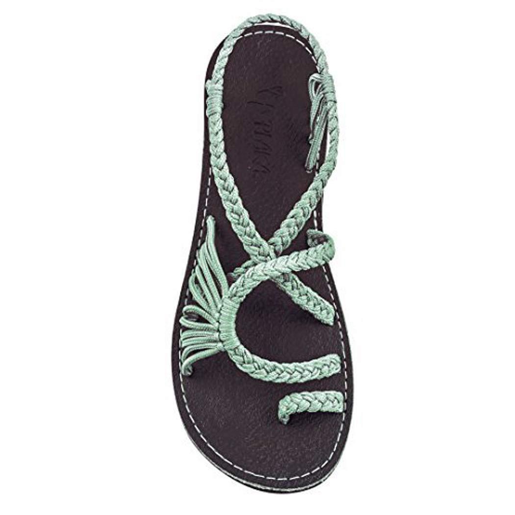 Qiopes Sandales /à la Mode f/éminine Cross Cross Patchwork Weave Sandales