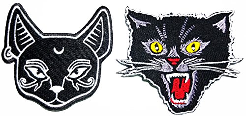 Black Cat Kitten Crescent Moon Rider Motorcycle Biker Patch Logo Jacket T-shirt Patch DIY Applique Embroidered Sew Iron on Patch]()